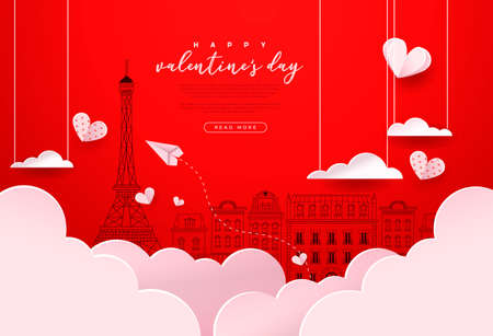 Happy Valentine's Day greeting card template. Cute paris city doodle background with realistic 3d papercut sky clouds, hearts and paper plane. Romantic february 14 event design.