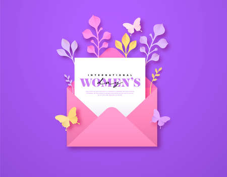 Happy Women Day greeting card template. 3D papercut open letter envelope with beautiful spring decoration, pink butterfly and copy space. Cute paper craft design for international women's event.