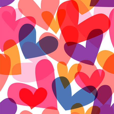 Colorful valentine's day heart cartoon seamless pattern. Retro romantic doodle background for holiday print or love concept.