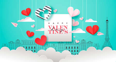 Happy Valentine's Day greeting card illustration. Pink paris city doodle background with realistic 3d papercut sky clouds, hearts and paper plane. Romantic february 14 event design.
