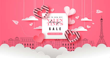 Valentine's Day sale template illustration. Special discount promotion, pink paris city doodle background with papercut heart decoration. Romantic february 14 online offer event design. Vectores