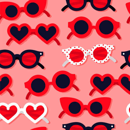 Heart shape sunglasses cartoon seamless pattern. Valentine's day fashion, romantic summer background for holiday print or love concept.