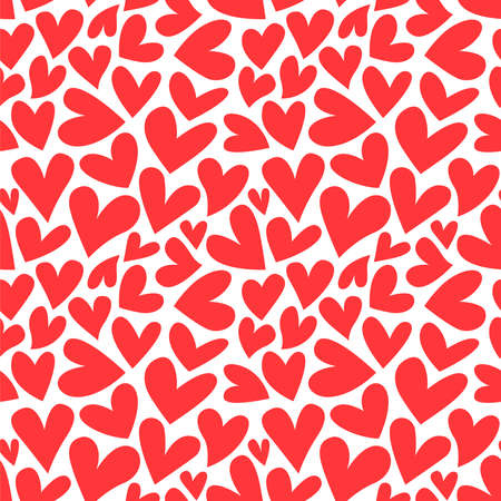 Red valentine's day heart shape cartoon seamless pattern. Traditional romantic doodle background for holiday print or love concept.