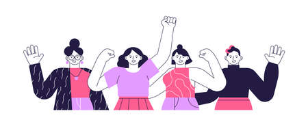 Diverse happy young woman group. All female team characters waving hello in modern flat cartoon style isolated. Technology business staff campaign or women equality presentation.