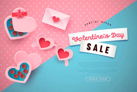 Valentine's Day sale template, papercut special holiday discount illustration. Romantic chocolate gifts, heart sunglasses, love letter icons in 3d paper cut style for web business offer.
