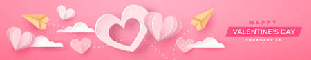 Happy Valentine's Day papercut web banner illustration. Pink heart decoration in realistic 3d paper craft style with plans and text quote. Romantic February 14 holiday event design.