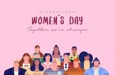 International Women's Day greeting card illustration of diverse young women characters for special woman rights event holiday or feminist campaign design.