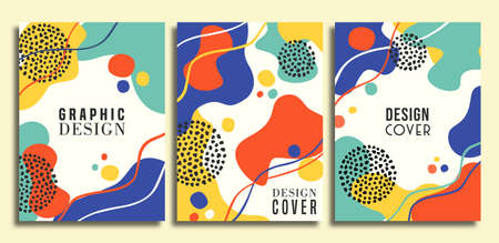 Retro 90s style greeting card illustration set with colorful abstract art shapes. 80s design poster collection for fashion presentation or trendy concept.