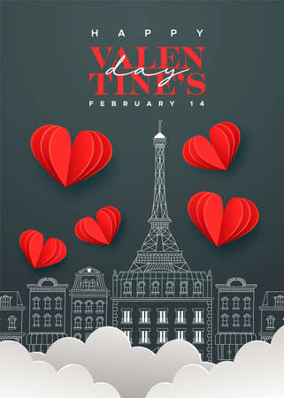 Happy Valentine's Day greeting card illustration. Cute paris city chalk doodle with 3d papercut clouds and hearts on black board background. Romantic february 14 event design.