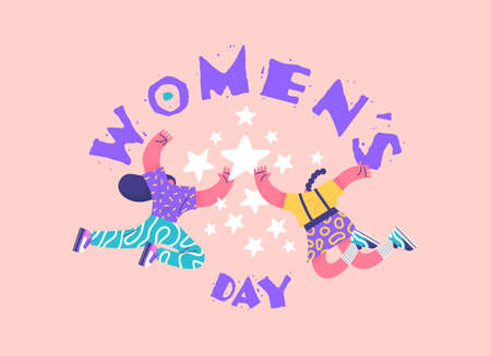International Women's day illustration of women friends doing high five gesture together. Happy young girl characters in modern flat cartoon style for special rights event holiday.