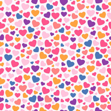 Colorful valentine's day heart shape cartoon seamless pattern. Traditional romantic doodle background for holiday print or love concept.