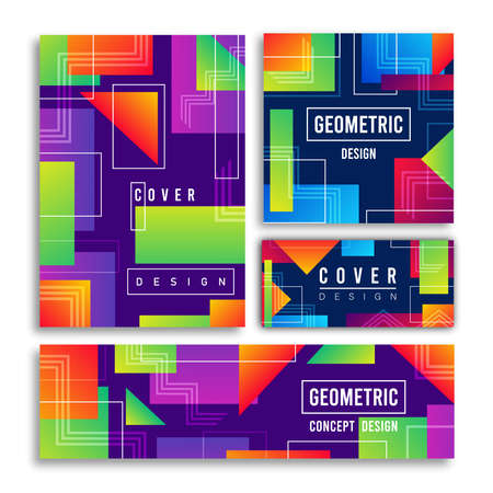 Colorful abstract geometric shape card illustration set. Futuristic neon decoration, modern technology label bundle for trendy product presentation or creative concept. Vectores