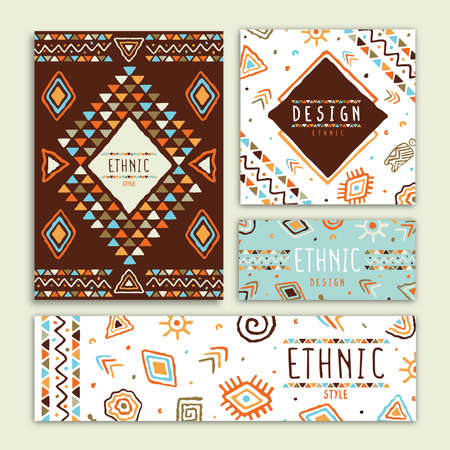Ethnic art style banner illustration set. Abstract tribal decoration, geometric shape doodle template bundle for fashion presentation or african culture design. Vectores
