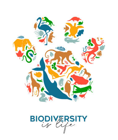 Diverse animal shapes making paw print shape on isolated white background. Colorful animals silhouette illustration for wild life diversity concept or endangered species ecology campaign.