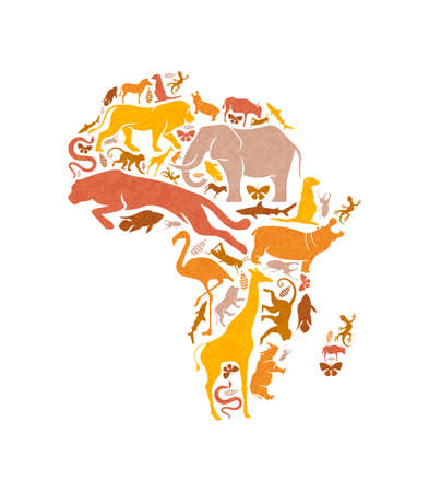 Diverse african animal shapes making africa continent map shape on isolated white background. Safari animals silhouette illustration for wild life concept or ecology conservation campaign.