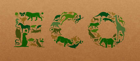 Green animal icon shapes set illustration on recycled paper texture. Diverse wild animals silhouette making eco text quote sign shape for environment conservation concept. Vectores