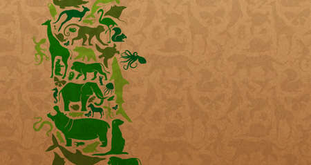 Green animal shape icon set illustration on recycled paper texture. Diverse wild animals silhouette background for eco friendly concept or copy space.