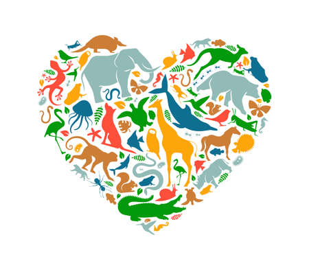 Diverse animal shapes making heart shape on isolated white background. Colorful animals silhouette illustration for wild life love concept or endangered species environment campaign. Vectores