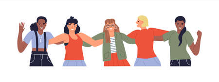Diverse happy young woman friend group. All female team characters waving hello in modern flat cartoon style isolated. Technology business staff campaign or women equality presentation.