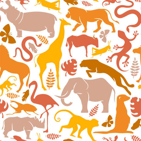 African wild animal icon seamless pattern illustration. Flat africa continent animals background for wildlife safari concept or nature protection campaign. Includes lion, elephant, giraffe and monkey.