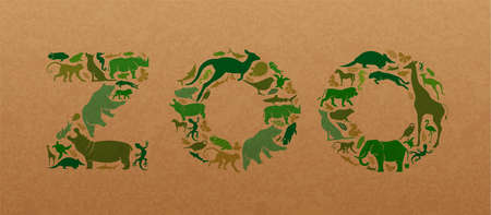 Green animal icon shapes set illustration on recycled paper texture. Diverse wild animals silhouette making zoo text quote sign shape for eco friendly conservation concept.