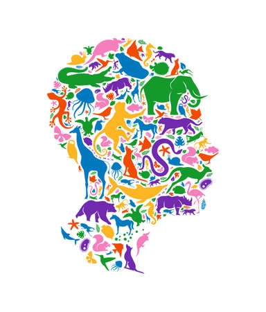 Diverse animal shapes making human head shape on isolated white background. Colorful animals silhouette illustration for wild life diversity concept or endangered species environment campaign. Vectores