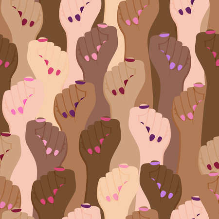 Diverse women hands raised up, flat cartoon seamless pattern for women's day or feminist equality concept. Multiethnic crowd of girl background. Woman rights print, female movement wallpaper design.