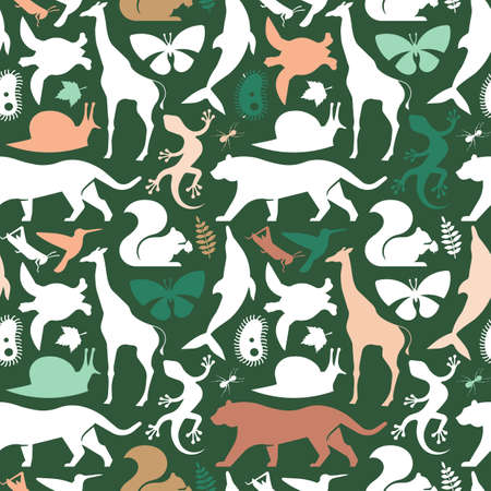 Green wild animal icon seamless pattern illustration. Flat animals silhouette background for wildlife diversity concept or nature biodiversity campaign. Includes giraffe, tiger, dolphin and turtle.