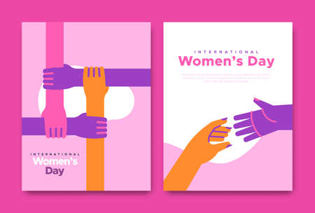 International Women's Day greeting card illustration set of diverse woman hands reaching out for help. Female teamwork concept, modern flat cartoon pink arms.
