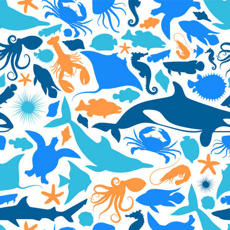 Wild water animal icon seamless pattern illustration. Blue marine animals silhouette background for aquatic sea life diversity concept or coral reef protection campaign.