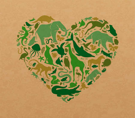 Green animal icon shapes set illustration on recycled paper texture. Diverse wild animals silhouette making heart shape for eco friendly concept or nature love campaign.
