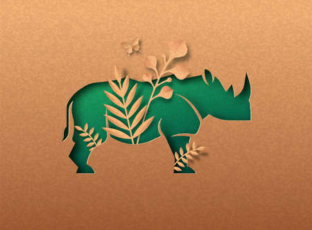 Rhinoceros animal green papercut illustration with tropical plant leaf. Recycled paper texture rhino cutout concept for wild life protection, anti poaching or eco-friendly product.