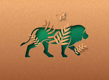 Green lion animal isolated papercut silhouette with tropical plant leaf inside. Recycled paper texture cutout concept for africa safari, big cat wildlife conservation or natural product design.
