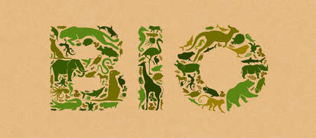 Green animal icon shapes set illustration on recycled paper texture. Diverse wild animals silhouette making bio text quote sign shape for environment biodiversity concept.