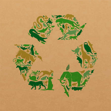 Green animal shape icon set illustration on recycled paper texture. Diverse wild animals silhouette recycle symbol for eco friendly concept or waste cycle ecology.