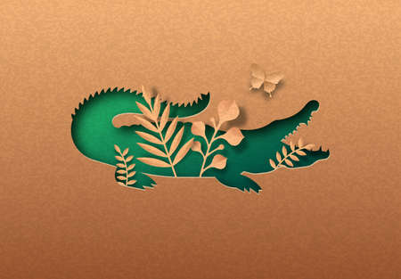 Green crocodile animal isolated papercut silhouette with tropical plant leaf inside. Recycled paper texture alligator cutout. Wildlife conservation, jungle protection or natural product concept.