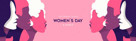 International Women's Day banner illustration of diverse pink women standing together for special woman rights event holiday or feminist campaign design.