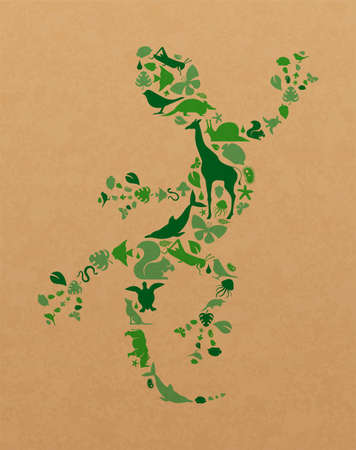Green animal icon shapes set illustration on recycled paper texture. Diverse wild animals silhouette lizard shape for eco friendly concept or environment care campaign. Foto de archivo