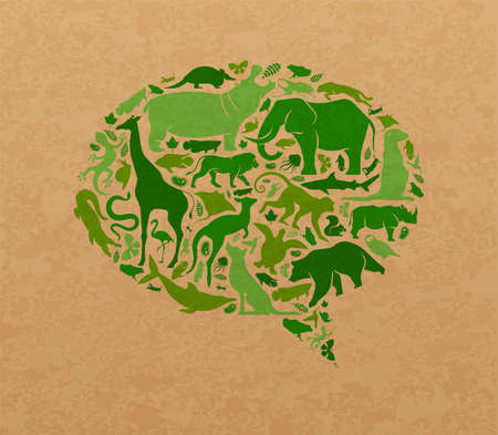Green animal icon shapes set illustration on recycled paper texture. Diverse wild animals silhouette making speech balloon shape for eco friendly topic or nature social media campaign. Foto de archivo