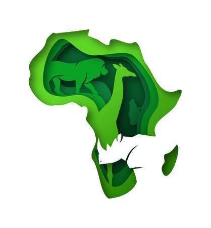 Green african continent map illustration in realistic 3d paper cut style with diverse wild animals. Africa eco safari concept includes giraffe, rhinoceros and lion animal. Vectores
