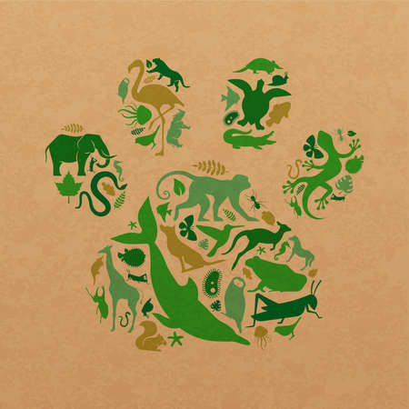 Green animal icon shapes set illustration on recycled paper texture. Diverse wild animals silhouette making paw print shape for eco friendly concept or nature care campaign. Foto de archivo