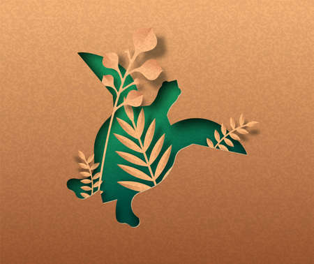 Green sea turtle animal isolated papercut silhouette with tropical plant leaf inside. Recycled paper texture tortoise cutout. Wildlife conservation, coral reef protection or natural product concept. Vettoriali