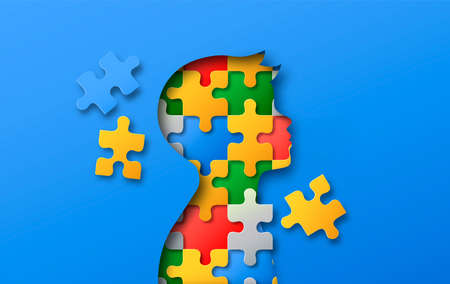 Little boy head profile silhouette made of colorful paper cut puzzle pieces. Children education or psychology illustration concept in realistic 3d papercut style.