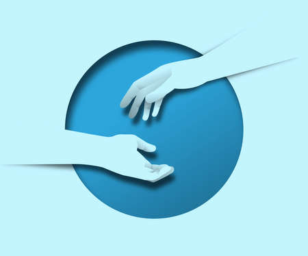 Two human hands reaching out together for help with 3d paper cut circle on isolated background. Business teamwork concept, friend assistance idea.