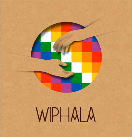 Wiphala culture help illustration concept of people hands together for indigenous native american community in bolivia. 3D recycled paper cut design. Vector Illustration