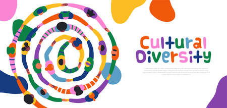 World Day for Cultural Diversity web template illustration of colorful diverse people group holding hands together in big round circle. Different culture friend team concept, may 21 holiday banner.