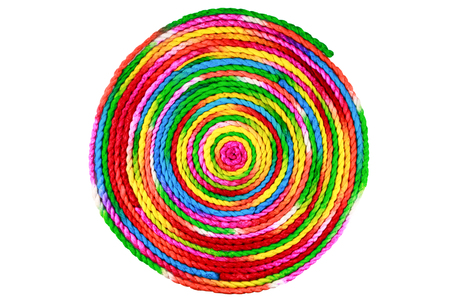 mulberry paper: colorful rope circle made from mulberry paper on white background