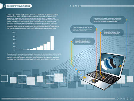 creative design laptop and technology background Vector
