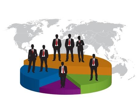 Business silhouet en grafische Financiën achtergrond schrijven Stock Illustratie