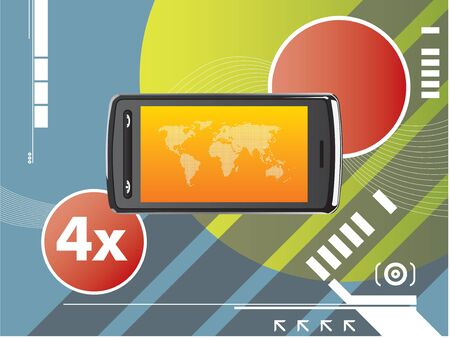 cell phone technological background Stock Vector - 7373928